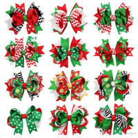 Wholesale Baby Girl Hair Bow Large Layered Boutique Spike Christmas Hair Bows hairpin Clip in Red Green Party Hair Accessories