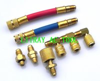 ac fittings auto - auto ac repair tool multifunction swivel adapter kit refrigerant fitting adapter Set Quick Connect Couplers Fittings freon pipe