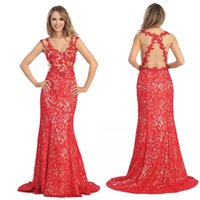 Cheap Sexy Backless Red Lace Long Evening Prom Dresses Cheap Sheath V neck Sweep Train Party Celebrity Gowns Free Shipping 2015 Arabic Custom Made