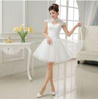 Wholesale fashion Bride short dress Bridesmaid Dresses elegant satin cocktail dress for party Club ball gown wedding dresses LF259