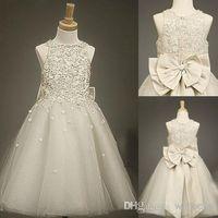 Cheap Bling Cheap Girl's Wedding Toddler Pageant Ball Gowns Flower Girl Lace Dresses 2014 Formal Long Tulle Cheap Communion For Little Girls Dress