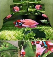 Wholesale 2015 Beautiful Flower Grass And Vivid Butterfly Print Piece Duvet Cover Bedding Sets Cotton Countryside Scenery