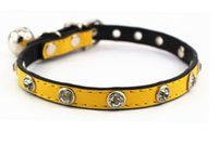 Wholesale NEW Cat Supplies Rhinestone PU Yellow pet collar Cat Collars Pet Supplies Dog Collar colors