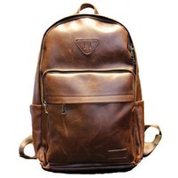 Wholesale Sale Designer Fashion PU Leather Men s Backpacks Preppy Style Brown Women Rucksack Bolsas Mochila Casual Sport Bag