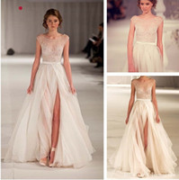 Cheap 2015 Elie Saab Brand Sexy Slit Runway Famous Designer High Slit A-Line Embroidery Scoop Backless White Beige Wedding Dresses