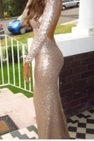 Cheap Sweetheart Long Sleeves Gold Sequins Golden Shiny Sparkly Open Back Beautiful Sequins Evening Formal Gowns