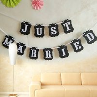 banner photography - Romantic JUST MARRIED Bunting Wedding Garlands for Wedding Party Garland Banner Photo Booth Photography Props Prom Party Supply