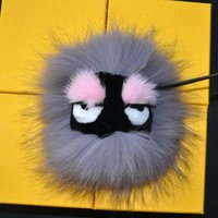 real doll - Fox fur Leather Monster Pom Pom Doll Ball keychain Bag car Charm Black leather wallet Pom Pom real fur monster