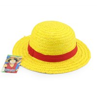 Cheap Wholesale-1 Pcs Free Shipping Anime Cartoon One Piece luffy Cosplay Sun Straw Hat Costume Performance Hat