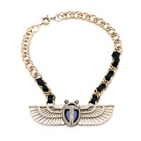 Wholesale Irregular Golden Wings Black Weave Lady Pendant Necklaces Tennis Graduated Collection Statement Necklaces Promotion GIFT Factory Price