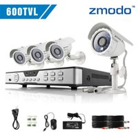 Cheap Zmodo cctv 600TVL High Resolution 4 channel Home DVR Security System 4 Indoor Outdoor night vision video Surveillance Camera kit