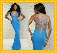 Wholesale 2015 Stunning Beaded Back Pageant Dresses Deep V neck Hollow Back Sheath CHiffon Blue New Formal Prom Evening Dress Gown