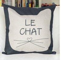 Wholesale Room Cotton Linen Square Pillow Case Cat Icon Decorative Print Cushion Cover KSKS