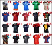 Wholesale 2015 Superhero Short sleeve T shirt Batman Spiderman Ironman Superman Captain America T shirts Avengers cosplay Costume sport J112301 DHL
