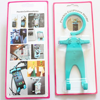 Wholesale Universal Bondi Lovely Human Shape Silicone Cell Phone Stand Holder for iphone Plus Samsung S6 Multi Function Bracket Hanger Q2