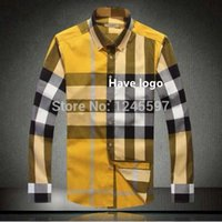 Wholesale top style New arrival Cotton long Sleeve shirt for men plaid with stipes sleeve shirt men s summer dress man shirts