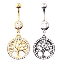 belly button diamond - 2015 Fashion Belly Button Rings Crystal Colors Mom Tree Belly Rings Stainless Steel Sexy Navel Ring Body Piercing Jewelry For Women