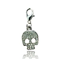 Wholesale Newly Floating Charm Lobster Clasp Pendants Point Rhinestone Retro Skull Keychain Jewelry DIY Accessories