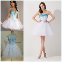 Wholesale 2015 Short Tulle Cocktail Homecoming Dresses Rhinestone Sweetheart Crystal Organza A Line Sweet Sixteen Graduation Mini Party Evening Gowns