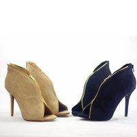 Wholesale 2014 new high heeled shoes with a fine suede single European fashion women s shoes size shoe zipper fish mouth