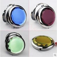 Wholesale 1000pcs CCA3019 cm Folding Makeup Compact Mirror With Crystal Metal Mirror For Wedding Gift Cosmetic Pocket Hand Mirror Compact Mirror