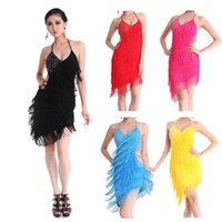 Wholesale SEXY Professional Latin Dance Dress Skirt Ballroom Dance Csotume Vestidos Salsa Tango Rumba Cha Cha Dresses Robe Danse Latine Colors