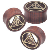 Wholesale Mix mm Death Triangle Piercing Tunnels Ear Plugs Gauges Wood Body Jewelry Ear Expander
