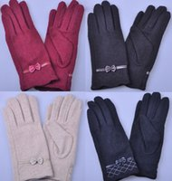 Wholesale Warm Winter Womens Gloves Cute Bow Wool Cashmere Glove Black Coffee Beige Wine Red Colors in stock