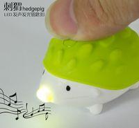 Wholesale New cute Cartoon hedgehog LED Light KEYRING KEYCHAIN mini flashlight Lovely novel key rings keychains key chain HOT cute key ring