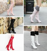 Cheap Free Shipping,Patent Leather High Heel Pumps Lace Up Sexy Over Knee High Boots #x35,US 4-11,Womens Ladies Shoes
