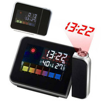 Wholesale 3 quot Digital LCD Screen LED Projector Alarm Clock Weather Station Digital Alarm Clock with Colorful LED Backlit