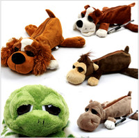 best dog pens - Cute Plush Big Eye Dog Monkey Hippo Tortoise Doll Pencil Case Mobile Phone Bag Storage Pen Holder Best Gift For Children