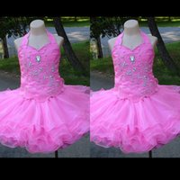 Wholesale 2015 Lovely Pageant Dresses for Toddlers Halter Rhinestone Crystal Beaded Bodice Cupcake Skirt Rose Pink Organza Little Girls Party Dresses