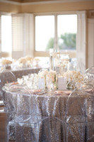 Wholesale A Glamorous Silver Glittering table linens custom make size for your table fast shipping christmas table cloth