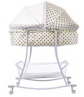 Wholesale High Quality Beige Color With Dot Baby Swing Bed Portable Infant Shaker Cradles For Newborn Baby Years Old