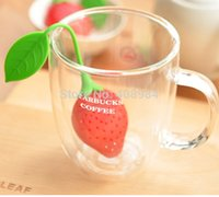 Wholesale pieces portable Tea Strainer Silicone Strawberry Design Herbal Spice Infuser Filter Tools tea bag ball sticks