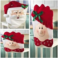 Wholesale 2015 Creative Santa Cute Chair Back Set Covers Dinner Decor Christmas Room Decoration