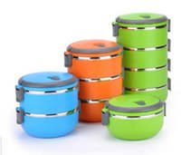 Wholesale 1set Thermal Bento Lunch Box Thermos For Food Stainless Steel Insulation Storage food Container Dinnerware Layers for choose