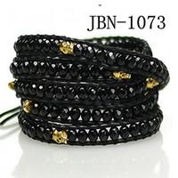 skull bracelet - hot High Fashion stone Leather Wrap Bracelet Wrap Bracelet mm black stone and skull JBN