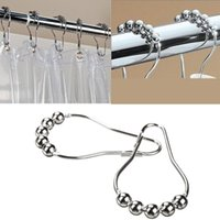 Wholesale pack Set Package Polished Satin Nickel Roller Ball Shower Curtain Rings Hooks x4cm