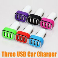 Wholesale Three USB Port Car charger Universal Adapter A A Car Charger For Apple iphone i6 plus S For Samsung Note GOOD QUALITY UP