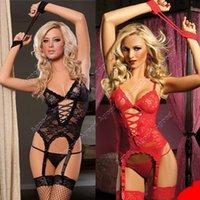 sexy underwear - New women Sexy Lace Lingerie Set Nightwear Underwear G string Wrist Band SV000546