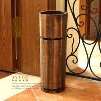 Wholesale Log rustic floor shavings bucket barrel floor vase
