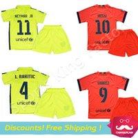 Boys kids jerseys - kids Messi Jerseys Children Soccer Jersey kit Camisa NEYMAR JR SUAREZ Children football Uniform Set