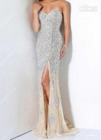 Wholesale Real Image Sweetheart Mermaid Sweep Train Champagne Chiffon Heavy Diamond Beaded Evening Gowns Prom Dresses