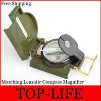 Wholesale Mini Military Camping Marching Lensatic Compass Magnifier Army Green FreeShipping LHM351