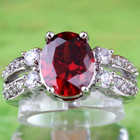 band garnet ring - 432AR6 Red Oval Cut Garnet White Topaz Gemstones K White Gold Plated Ring Size Free Ship
