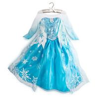 Wholesale custom made movie cosplay costume princess elsa Frozen Dress Princess Elsa Dresses With Lace Snowflake queen elsa costume dress