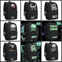 Wholesale Luminous Tokyo Ghoul Kaneki Ken Casaul Travel Bags Unisex Canvas Backpacks Double Shoulder Bag School Bags For kid Birthday Christmas Gifts