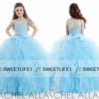 Wholesale Blue Ball Gown Girls Pageant Dresses Jewel Neck Sheer Back Little Girls Formal Gowns Sweep Train Beaded Kids Wear Rachel Allan Custom